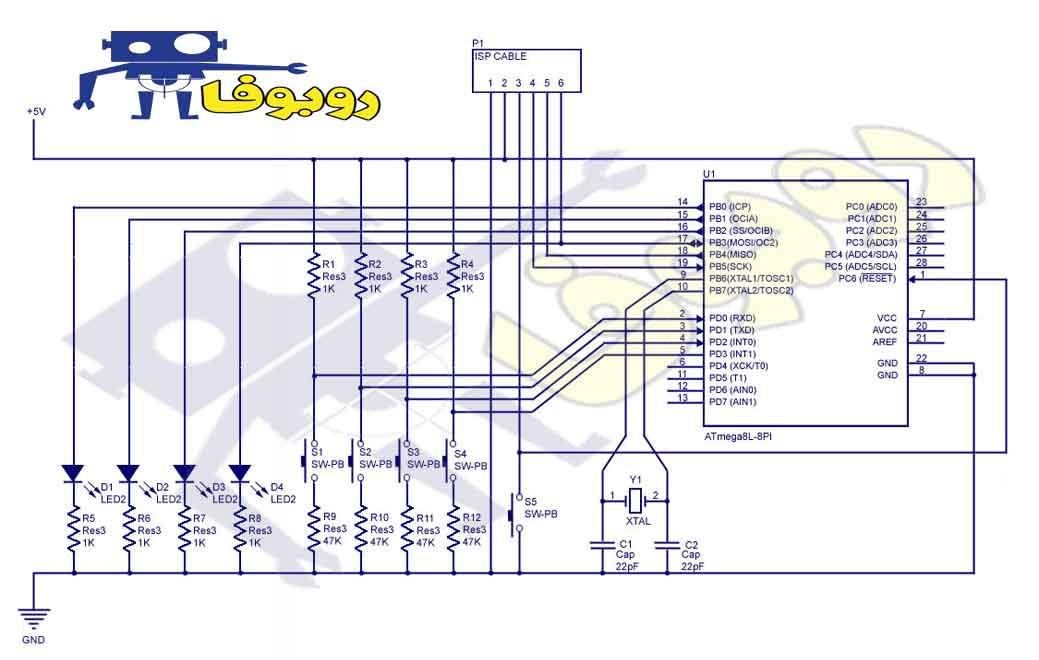 مدار ورودی و خروجی میکرومنترلر