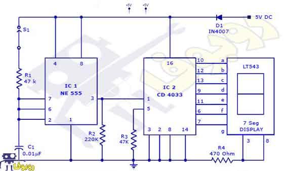 مدار پروژه الکترونیکی آماده ساخت شمارنده دیجیتال با آی سی 555